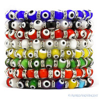 Evil Eye 8mm Bead Lampwork Turkish Nazar Hamsa Judaica Kabbalah Stretch Bracelet