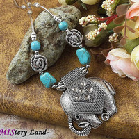 NR139 Bohemian Gypsy Tibetan Silver Color Elephant Turquoise Pendant vintage choker necklace chain jewelry gift