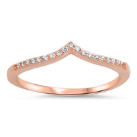 V-Shape Cubic Zirconia Band .925 Sterling Silver Rose Gold Ring