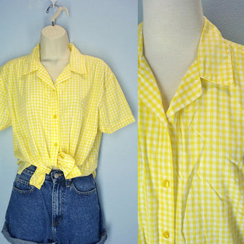 80s Vintage Picnic Blouse Yellow Gingham Soft and Thin Shirt