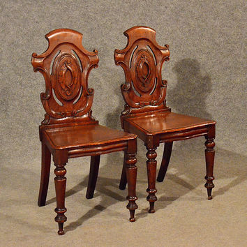 Antique Pair of Oak Hall Side Chairs Quality Early English Victorian c1850