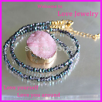 1PC Pure Natural Pink Crystal Rose Quartz Gem Drusy Pendant Bling Blue Beads Long Chain Gold Buckle Stone Druzy Necklace Jewelry
