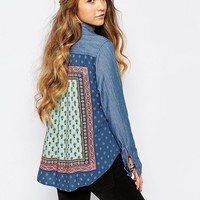 Hollister Chambray Shirt With Print Back Detail