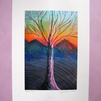Pink Tree 4 x 6 Fine Art Print - Reproduction of Original Pastel Drawing - Gift Idea for Mother's Day, Wall Art, Home Decor