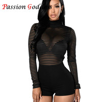 Plus Size Black Sexy Rompers Womens Jumpsuit High Neck Long Sleeve Mesh Bodycon Backless Short Bodysuits Ladies Playsuits