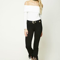 Frayed Low-Rise Cropped Jeans