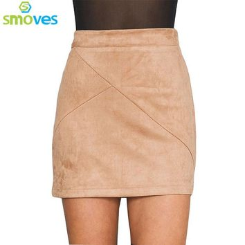 Smoves Womens Vintage 80`s Retro High Waist Patchwork Suede Skirt Thick Warm Winter Autumn Spring Casual Mini Pencil Skirts