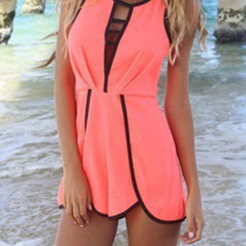 Coral Nipped Waist Cut Out Ruched Romper