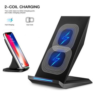 Fast Wireless Charger, YaSaShe QI Wireless Charging Stand for Samsung Note 8, Galaxy S8, S8 Plus, S7 Edge, S7, S6 Edge Plus, Note 5, Fast Charge for iPhone X iPhone 8 iPhone 8 Plus (Black)