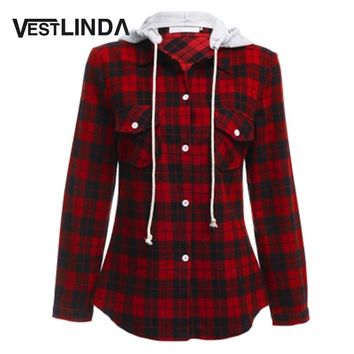 Womens Casual Plaid Hooded Shirt Cotton Long Sleeve Hooded Red Hoodie Tops