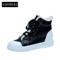 COOTELILI Botas Women Ankle Boots Fltas Heels Casual Shoes Woman Faux Suede Snow Boots with Fur Plush Sneakers Mujer 36-40