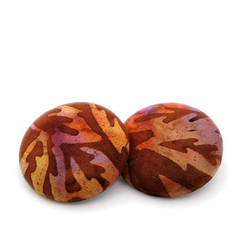 Batik Fabric Earrings // Orange Red and Brown // Fall Leaves // Hypoallergenic Jewelry // Gifts under 25 // Autumnal Colors