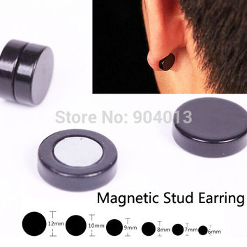 2016 Black Stainless Titanium Steel Round Magnetic Clip on Black Fake Stud Earrings Mens Magnetic Earrings Gift