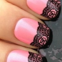 NAIL ART WRAP WATER TRANSFER DECALS BLACK FLOWER SWIRL LACE MESH #80