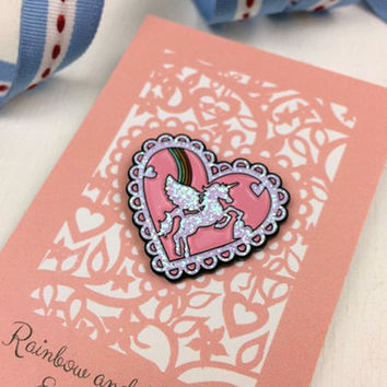 Glitter Unicorn and Rainbow Heart Enamel Pin, Pink Lapel Pin, sku_EP003