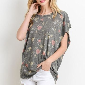Happy Place Gray Floral Shirt