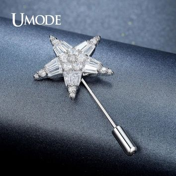 UMODE Clear Cubic Zirconia Rhinestone Crystal Star Brooch for Women Wedding Jewelry Clthing Accessories Brooches and Pins UX0010