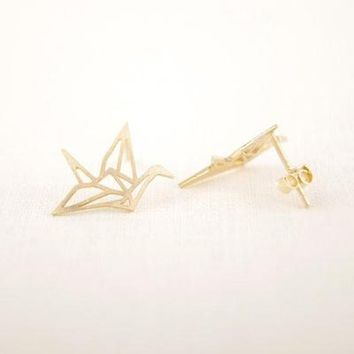 New Origami Crane Gold Color Bird Stud Earrings For Women's Gift
