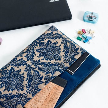 Blue MacBook 13 sleeve with pockets, MacBook Pro 13 sleeve, MacBook Air 13 Case, MacBook Pro 13 Retina, MacBook Air 11 Case