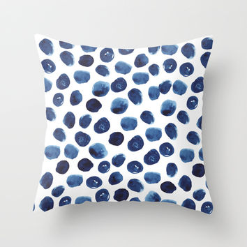 India - blue paint, ink spots, design, watercolor brush, dots, cell phone case Throw Pillow by CharlotteWinter