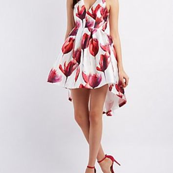 A.PEACH FLORAL PRINT HIGH-LOW SKATER DRESS