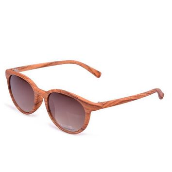 Unisex Vintage Round Wood Grain Frame Sunglasses with Polarized Lenses