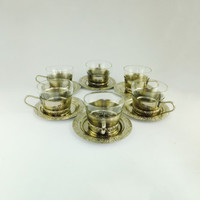 Vintage 6 Cups and Saucers, Set of 6 Cups for Coffee, Baroque, Ornate, Turkish coffee, Metal Tea Cups,  Coffee Tea Cup, English Tea Set
