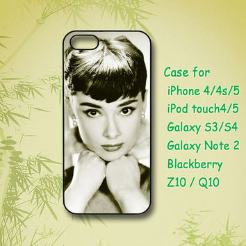 Audrey Hepburn, iPhone 5 Case, iPhone 4 Case, ipod 4, ipod 5, Samsung Galaxy S4, Samsung Galaxy S3, Samsung note 2, blackberry z10, Q10
