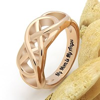"""Double Infinity Mother Ring, Mom Promise Ring """"My Mom is My Angel"""" Engraved on Inside, Best Gift for Mother Daughter Forever"""
