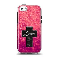 The Love is Patient Cross over Unfocused Pink Glimmer Apple iPhone 5c Otterbox Symmetry Case Skin Set