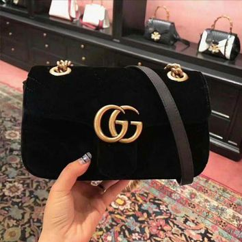 Gotopfashion GUCCI Fashion Ladies Personality Double GG Metal Chain Crossbody Satchel Shoulder Bag Black I