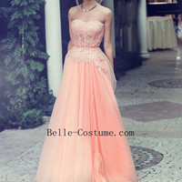 Prom Dresses, Appliques Lace Prom Dresses, Sweetheart Prom Dresses, Chiffon And Tulle Prom Dresses