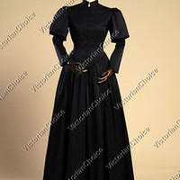 Black Gothic Victorian Steampunk Punk Gown Period Dress Reenactment Clothing 006