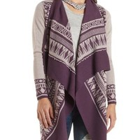 Geometric Print Cascade Cardigan by Charlotte Russe - Purple Combo