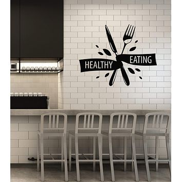 Vinyl Wall Decal Healthy Eating Diet Gym Sports Lifestyle Kitchen Dining Room Interior Stickers Mural (ig5831)