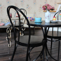 1/6 scale Miniature Table and 2 Bentwood Chairs French bistro set for dolls (Blythe, Pullip, Obitsu, Barbie, Bratz,  Momoko)