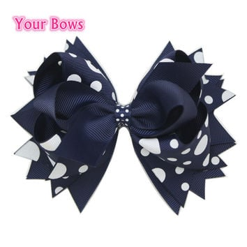 1PC 5.5Inch Navy Big Polka Dots Children Baby Girls Hair Bows Stacked Boutique Bows With 6cm Hair Clips Polyester Girls Hairpins