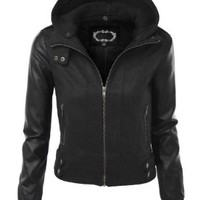 LE3NO Womens Edgy Faux Leather Zip Up Bomber Jacket with Front Pockets