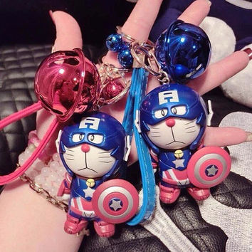 Cat doraemon captain americ key chain cartoon handbag charm
