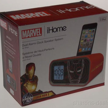 Iron Man 3 Alarm Clock Marvel iHome Avengers Dual Speaker System for iPod 30 Pin