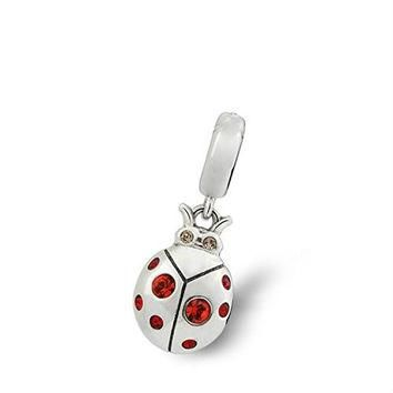 Ladybug Red Swarovski Crystal 925 Sterling Silver Bead Fit Pandora Charms