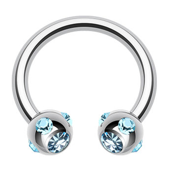 Aurora Glass-Gem Ball 316L Surgical Steel Horseshoe Circular Barbell