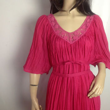 Vintage Crochet Gauze Hippie Dress Grecian Drape Broomstick Micropleat Pink Fuschia Maxi Dress One 1 Size Wide 3/4 Bell Sleeves