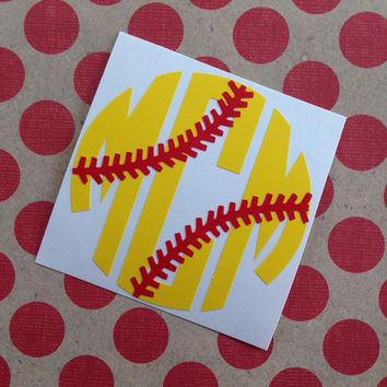 Softball Monogram | Baseball Monogram | Monogrammed Baseball | Monogrammed SoftBall | Baseball Mom Decal | Softball Player Decal | Car Deal