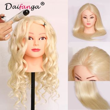 """22"""" Training Head Cosmetology Mannequin Heads Mannequin Head with Hair Practice Dummy Hairstyles Real Hair Mannequin Head"""