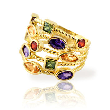 14K Gold Plated Stackable Confetti Five Row Gemstone Ring, Designer Inspired Fashion Jewelry Ring - Multi Colored Gemstones