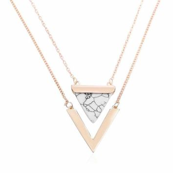 Women Gold Color Punk Necklaces From India Geometric Triangle Faux Marble Stone Pendant Necklace Vintage Jewelry