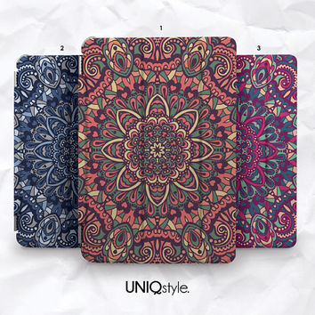 Mandala colorful floral pattern smart cover for iPad mini, iPad mini 2 retina, iPad Air with back case - standing function smart cover - N15