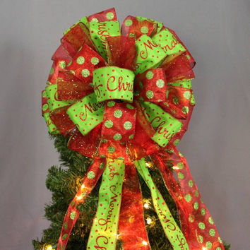 Red Green Merry Christmas Christmas Tree Bow Topper