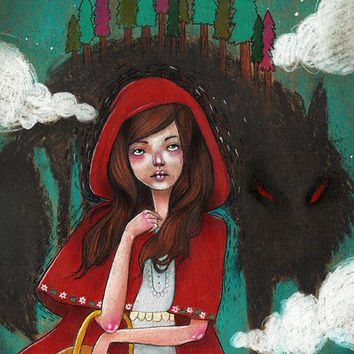 Little Red Riding Hood / 5 x 7 Illustration Print